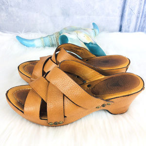 FRYE Leather Clog Heel Slip On Sandals